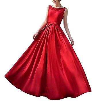Mujer Vestido Elegante Sin Mangas Vestidos De Fiesta Largos De Noche Rojo S