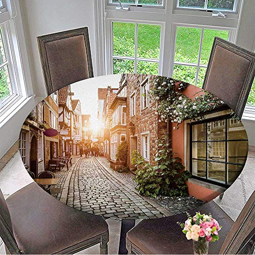 (Mikihome Circular Table Cover Historic Schnoorviertel at Sunset in Bremen,Germany for Wedding/Banquet 31.5