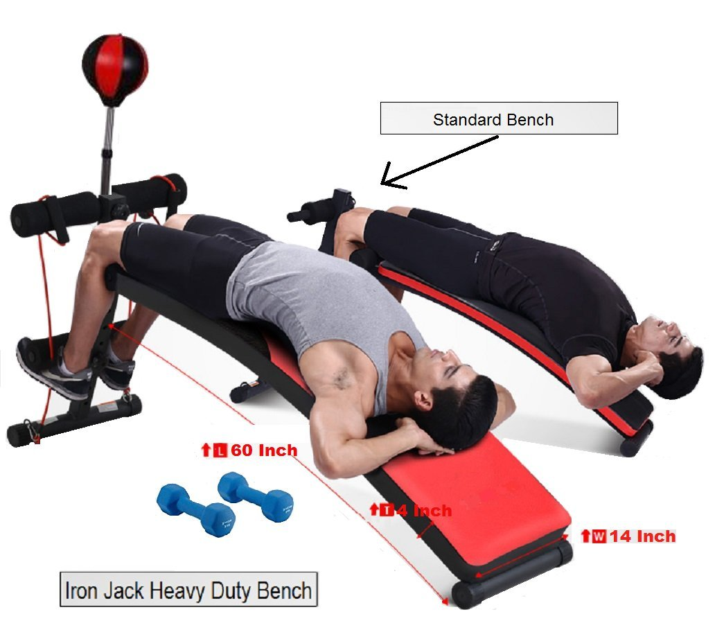 GYM QUALITY Premium Professional Adjustable Curved Sit-Up Bench Crunch Board Ab Bench Slant Board with Dumbbells and Punching Ball by Iron Jack Fitness