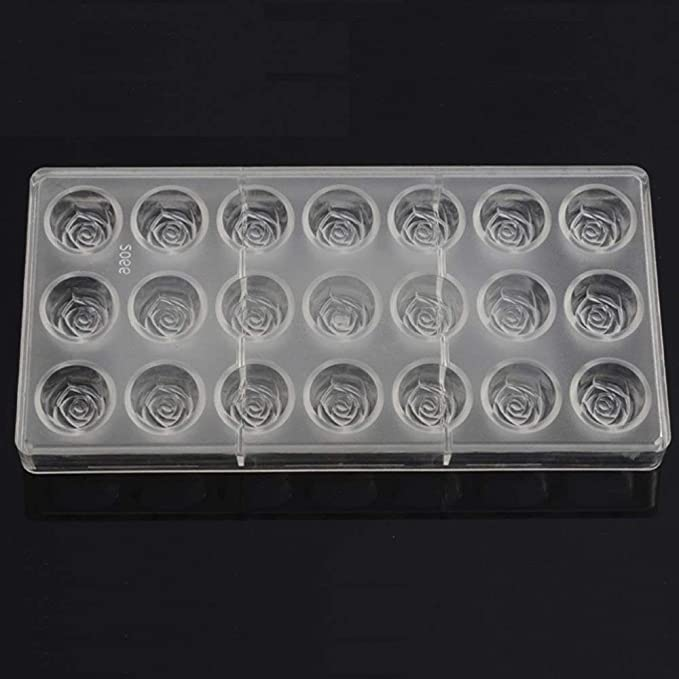 Amazon.com: Grainrain Clear Hard Plastic Rose Shaped Polycarbonate PC Chocolate Molds DIY Jelly Mould 21Cavities: Kitchen & Dining