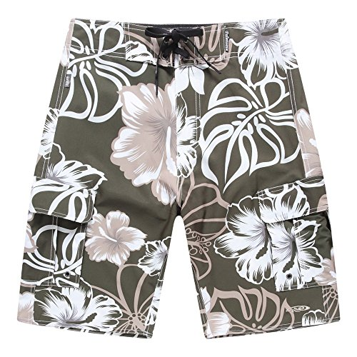 Palm Wave Men's Beach Wear Board Shorts with Pocket in Green with Grey Hibiscus 36