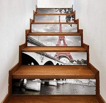 13Pcs / Set pegatinas de escalera, papel autoadhesivo de la Torre Eiffel 3D, pegatinas de escalera de vinilo, decoraciones para el hogar (39.4x7.1Inch): Amazon.es: Bricolaje y herramientas