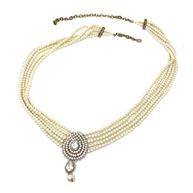 8a4b18961c225f Amazon.com: Indian Bollywood Ethnic Pakistani Waist Belt Bridal Kamarband  Belly Chain in White Faux Pearl: Jewelry