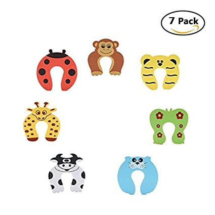 Foam Door Stopper Cushion Cartoon Animal Baby Finger Pinch Guard Finger Protection for Children Safety 7 Pcs.