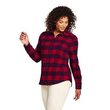 94d2dee53e0 Lands  End Women s Plus Size Flannel Shirt at Amazon Women s ...