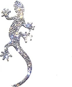 Silver Bling Gecko Car Decal, Sparkly Crystal Rhinestone Waterproof Lizard Sticker 4.5'' Height