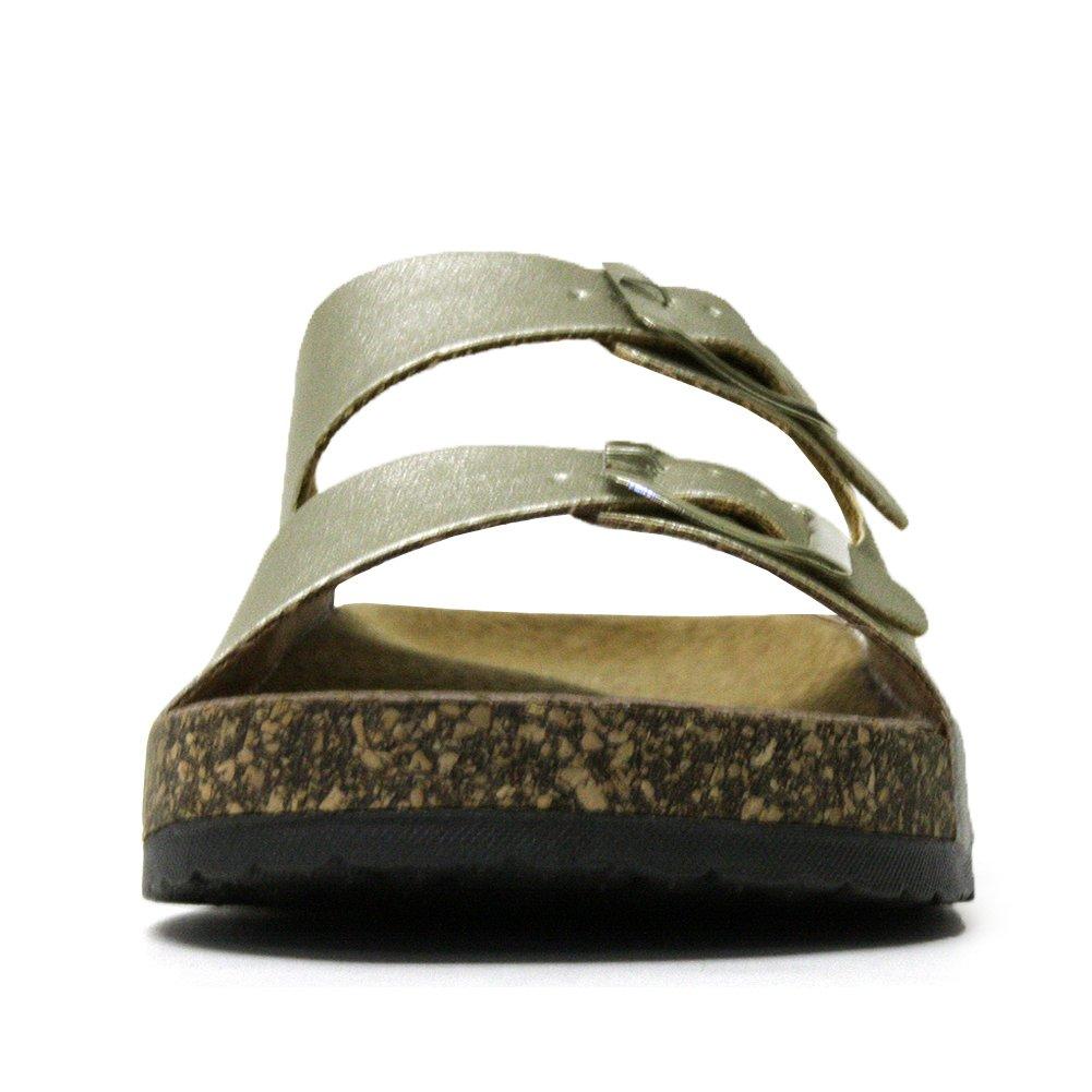 H2K Karen Junior Kids Fashion Comfy Slip-On Slide Sandals Flip-Flops Soft Genuine Leather Footbed