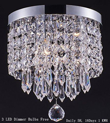 Smart Lighting-Shupregu 3-light modern Crystal Chandelier, Flush Mount Crystal Ceiling Light, Chrome Finish Pendent Light for Hallway, Bedroom, Kitchen, Dimmer LED Bulbs Included