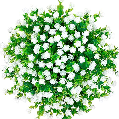 CQURE Artificial Flowers, Fake Flowers Artificial Greenery UV Resistant Plants Eucalyptus Outdoor Bridal Wedding Bouquet for Home Garden Party Wedding Decoration 5 Bunches (White)