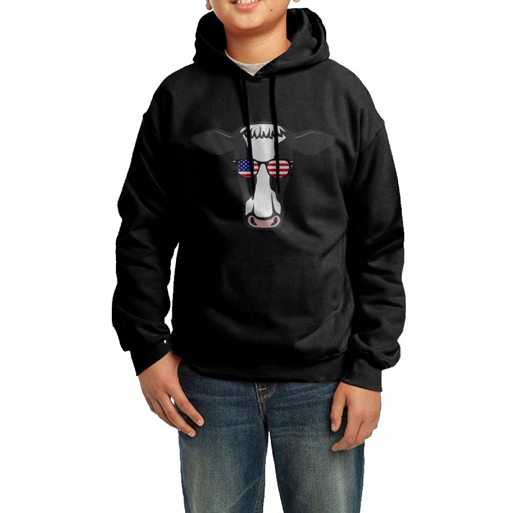 Cow American Glasses Cool Hoodie Youth Pullover Hooded Sweatshirt L by Ijalo