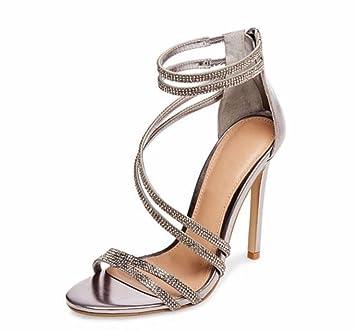eb72754b1f7d77 L-XIE Femmes Sexy Haute Talon Des sandales Stylet Chaussures Piaulement  Doigt de pied Cheville