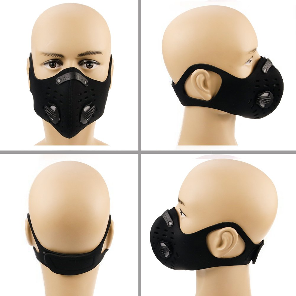 HTSM Dust Mask Anti Pollution PM2.5 Face Masks Washable and Reusable Dustproof Respirator Safety Mask with 2 Valves and 4 Activated Carbon N99 Filters Made for Men Women Outdoor Activities (Black) by HAITUNSUMAI (Image #8)