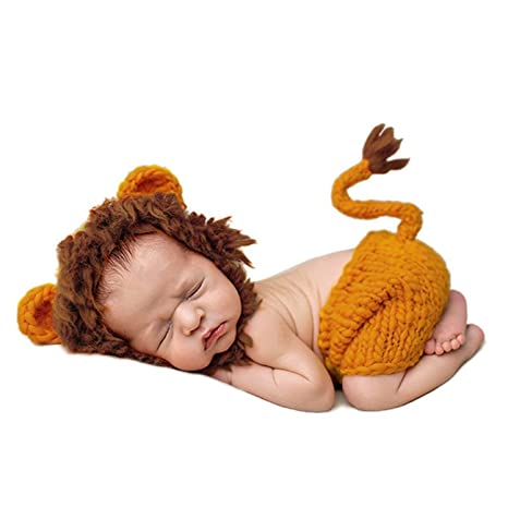 HaimoBurg Ropa de Bebe Recien Nacido Conjunros de Bebes Tejido a Mano la Estatua para Fotografía Atrezzo Treje 0-6 Meses (León)