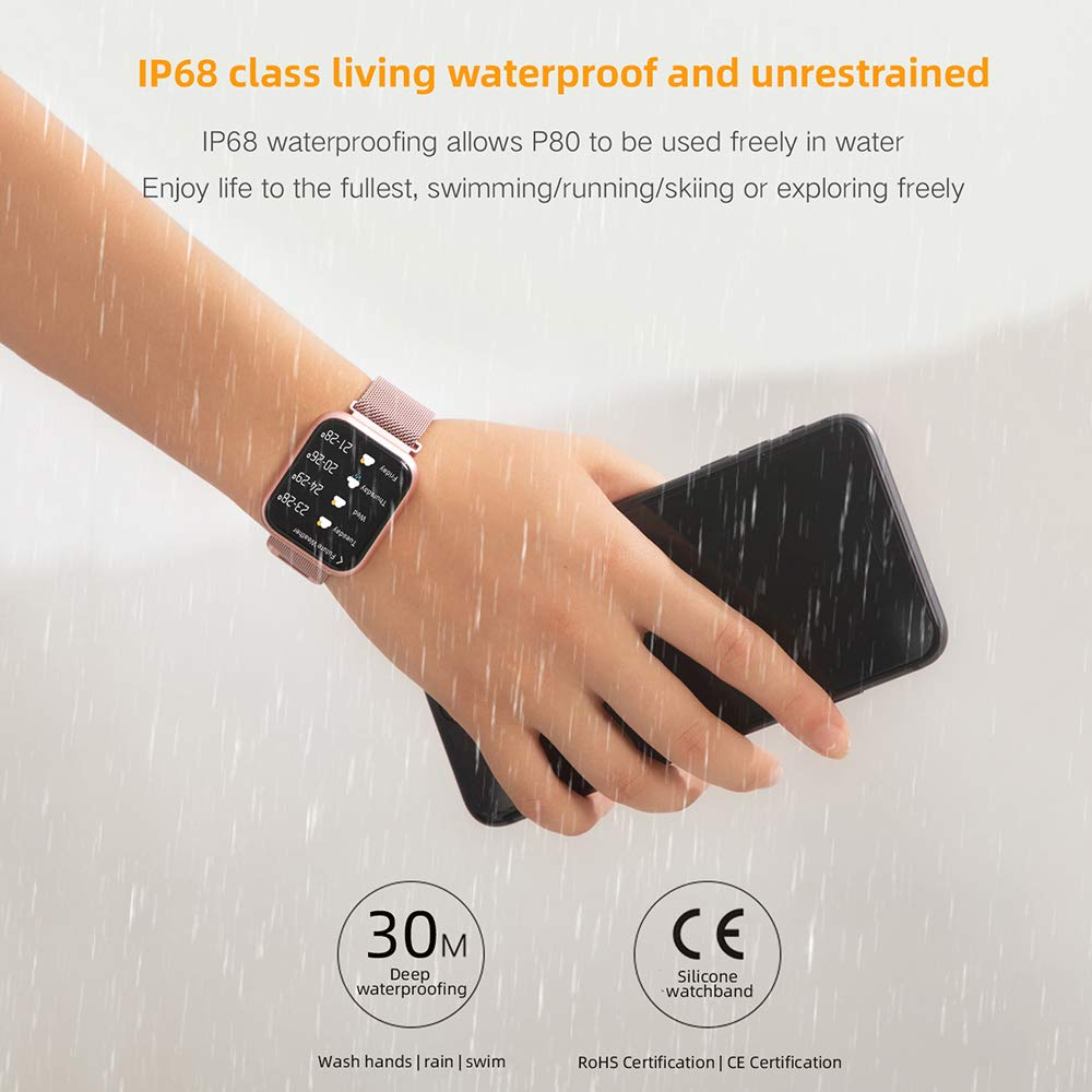 Byoung Activity Tracker for Girls, Fitness Watch IP68 Waterproof Smart Pedometer Watch with All Day Heart Rate Monitor/Blood Pressure, 2019 Upgrade Full Touch Screen Smart Wristwatch Bracelet, Black by Byoung (Image #5)