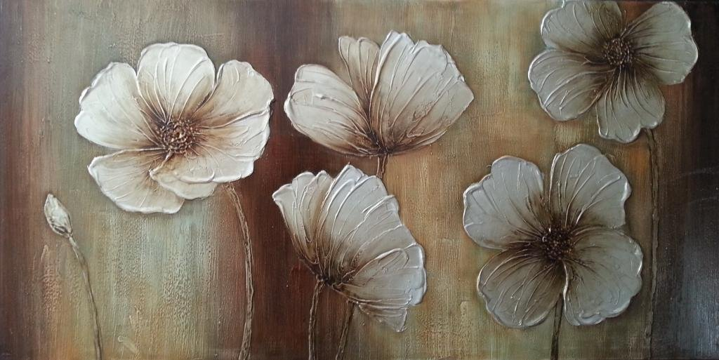 Wieco Art The Memory Large Abstract Floral Oil Paintings on Canvas Wall Art for Living Room Bedroom Home Decorations Modern 100% Hand Painted Gallery Wrapped Contemporary Brown Flowers Artwork