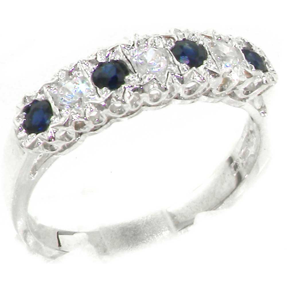 925 Sterling Silver Natural Sapphire and Diamond Womens Eternity Ring (0.18 cttw, H-I Color, I2-I3 Clarity)