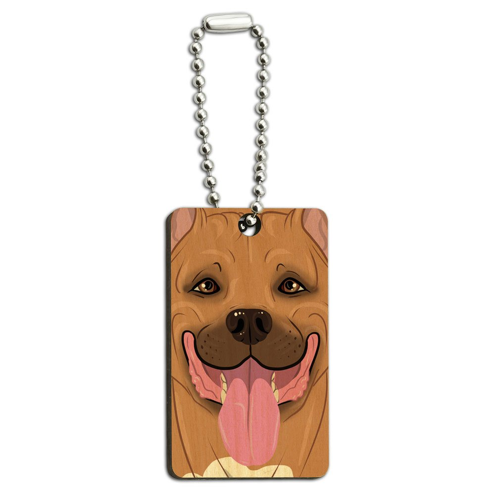 Pit Bull Fawn - Pitbull American Staffordshire Terrier Dog Pet Wood Wooden Rectangle Key Chain