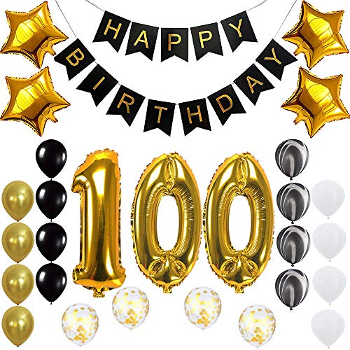 Happy 100th Birthday Banner Balloons Set for 100 Years Old Birthday Party Decoration Supplies Gold Black]()