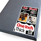 "iPrimio One Inch Thick Anti Fatigue Floor Mat for Office, Standing desk and Kitchen – 36"" x 24"" Large Size Extra Soft Comfort Mat –Air Soft Ergonomic Cushion - Phthalate Free Material- Grey"