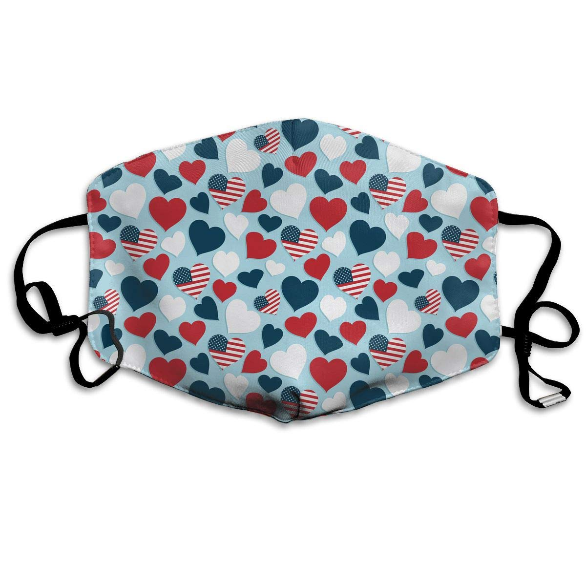 Unisex USA Heart Pattern Printed Cotton Mouth-Masks Face Mask Polyester Anti-dust Masks