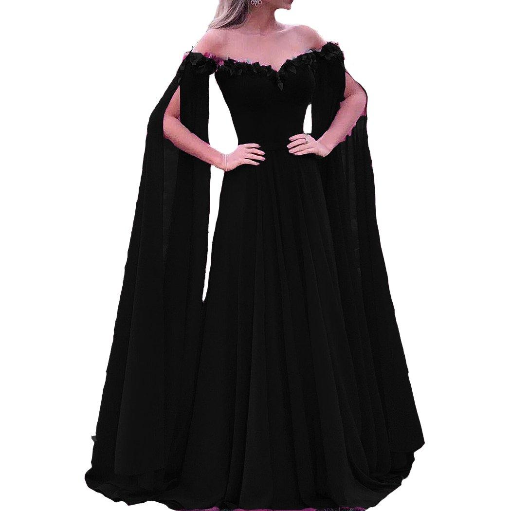Black Lemai Floral Off The Shoulder Goddess Long Sleeves Cape Prom Evening Dresses