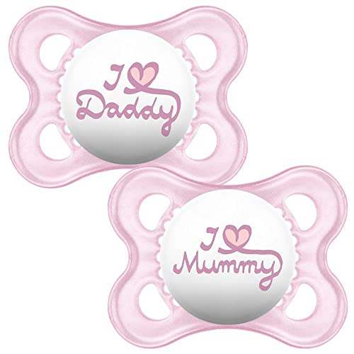 MAM Style I Love Mummy and Daddy Soother Suitable 0+ Months with Sterilisable Travel Case - Pack of 2, Pink (Designs May Vary)