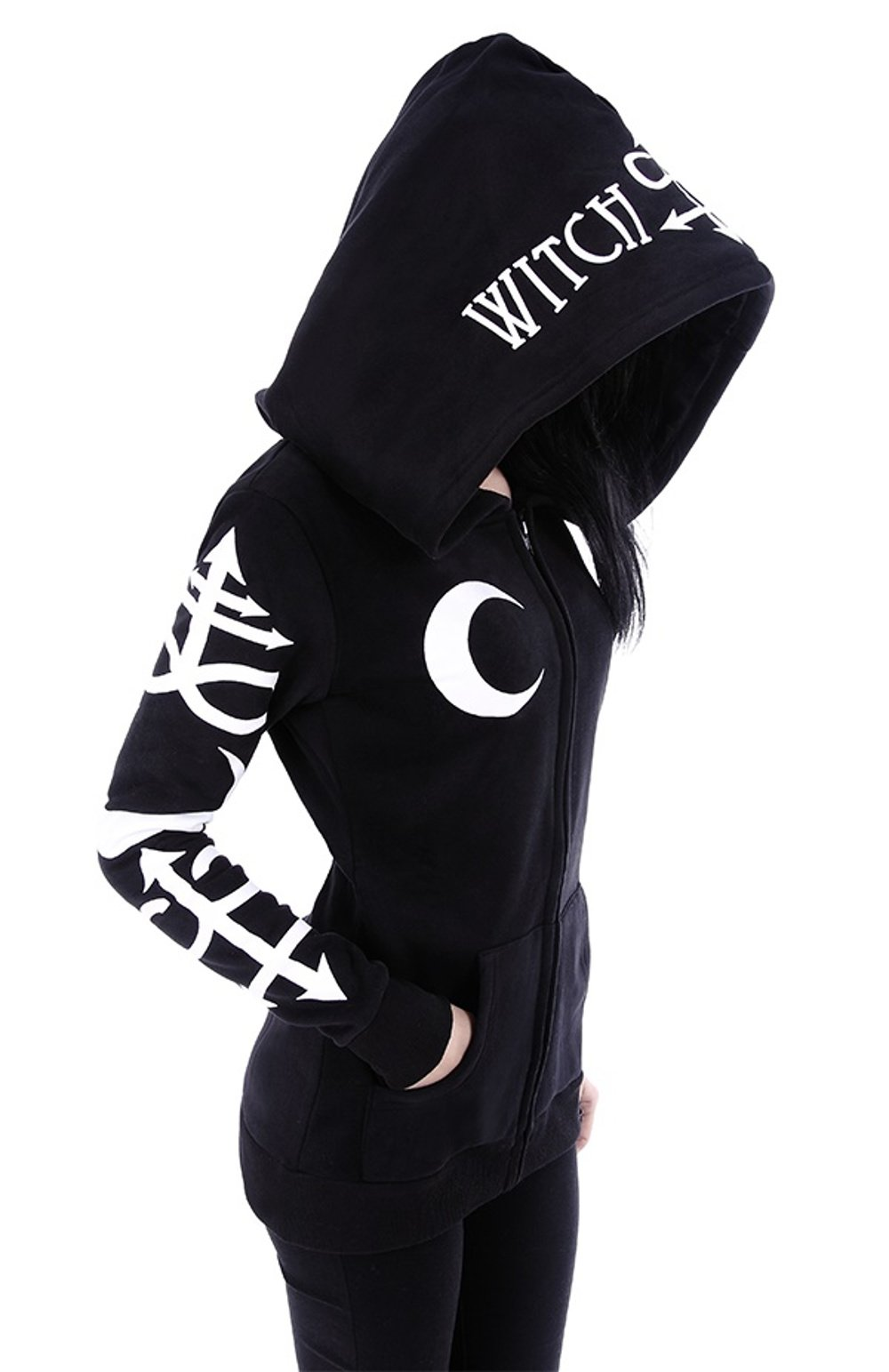 Restyle Witchcraft oversized hood Gothic Alternative Goth black hoodie (L)