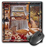 """3dRose Home Cooking & Country Art, Apple Pie & Kitchen Art Mouse Pad, 8"""" x 8"""" (mp_167215_1)"""