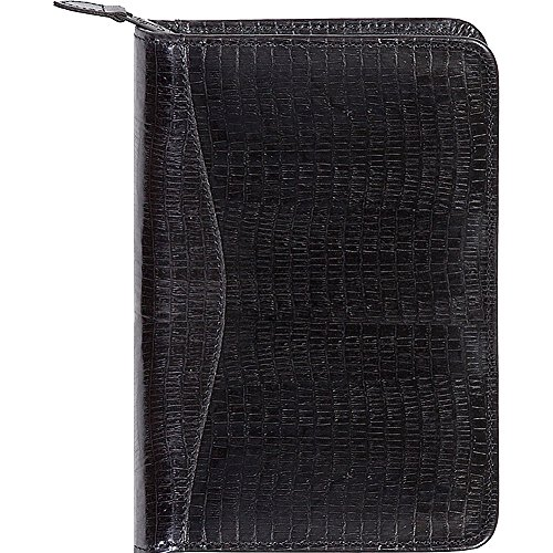 Scully Lizard Embossed Leather Zip Around Weekly Planner (Lizard Black) - Scully Leather Zip Weekly Planner