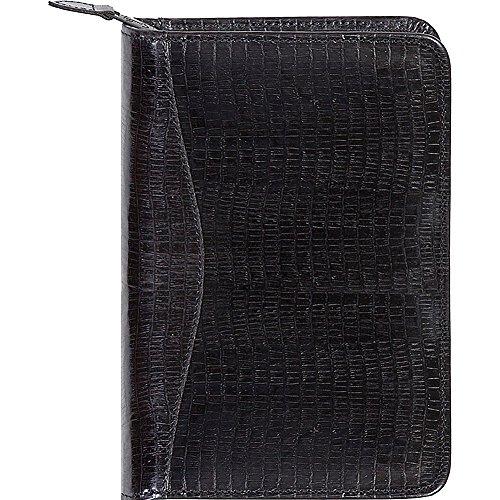 Scully Lizard Embossed Leather Zip Around Weekly Planner (Lizard Black)