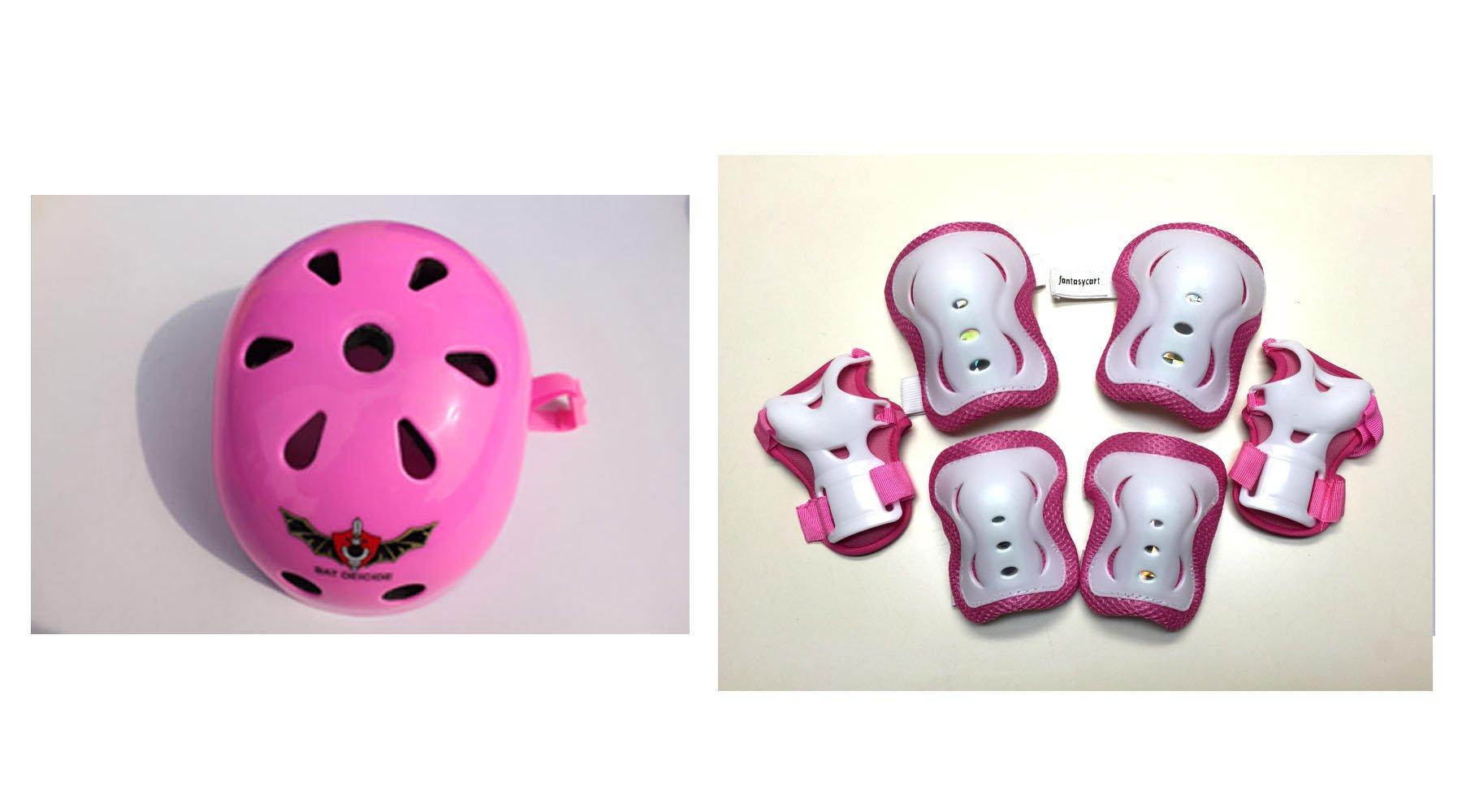 Fantasycart Kid's Skateboard Longboard Helmet Knee & Elbow Pads Wrist Guard Combo Pink Set 2-8 years old