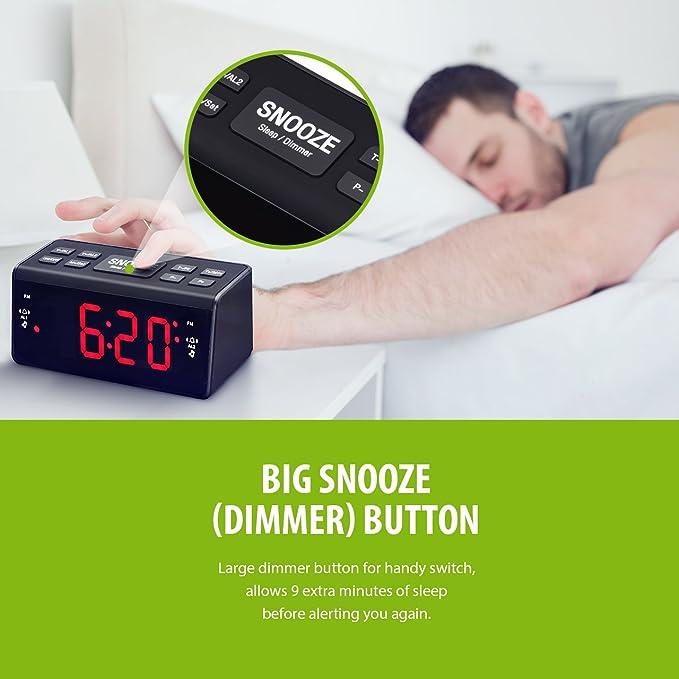 TOPELEK Radio Despertador Digital,Radio Reloj FM / AM Despertador con Alarma Dual, Gran Pantalla LED de 1.5 Pulgadas,Función Snooze,Temporizador de ...