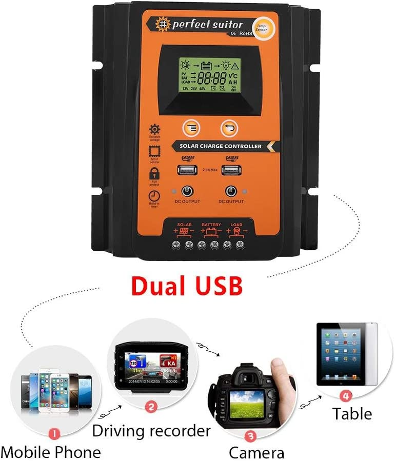 50A MPPT Solar Charge Controller 12v//24v 30A//50A//70A Solar Panel Battery Regulator Charge Controller Dual USB LCD Display Solar Power Battery Charger Controller