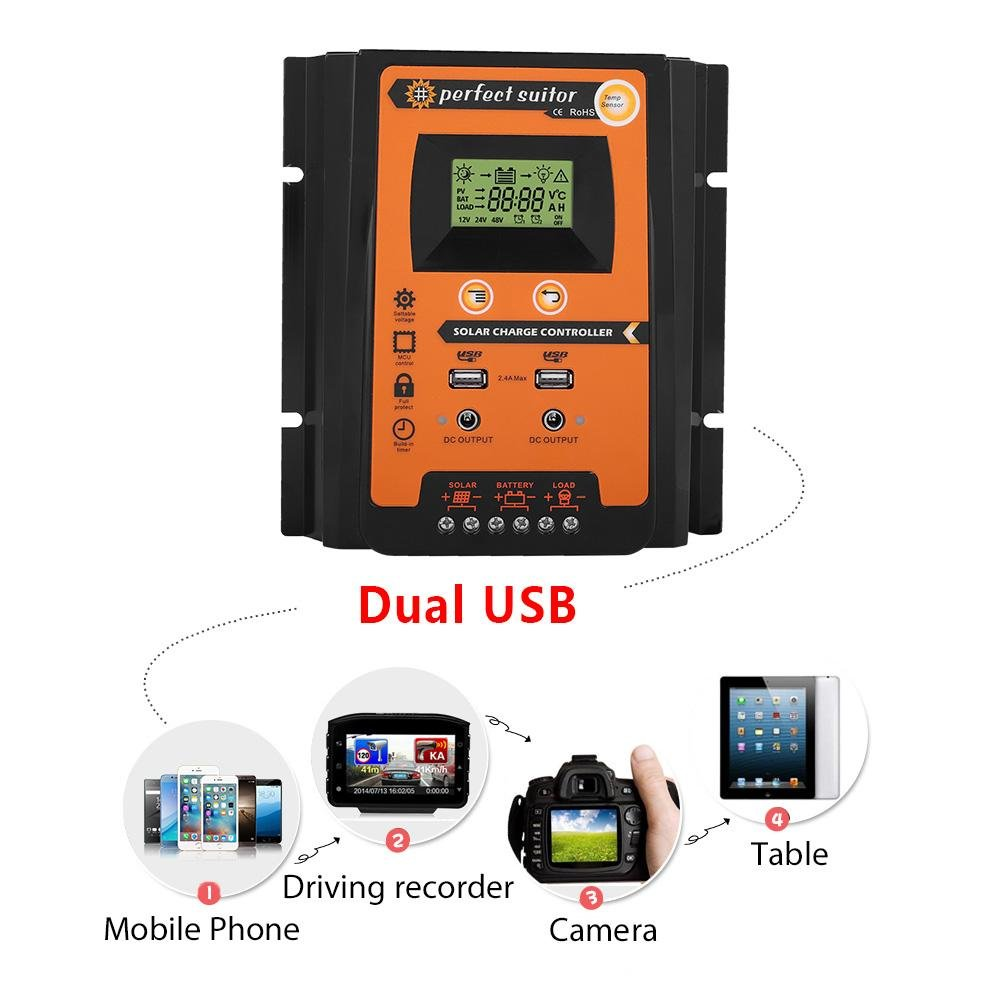 70A Solar Charge Controller,12V//24V 30A50A MPPT Solar Charge Controller Solar Panel Battery Regulator Dual USB LCD Display