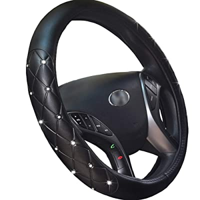 FEENM Steering Wheel Cover Bling Bling Rhinestones Crystals Car Handcraft Steering Wheel Covers Leather for Girls Silver (Bling): Automotive
