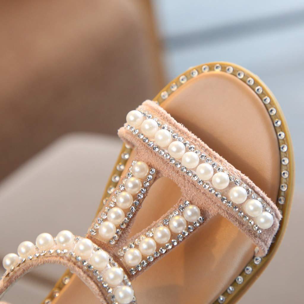 Chaussures Enfant Fille Ete Rome Perle Crystal El/égante Bout Ouvert Princess Sandales de Plage Youngii