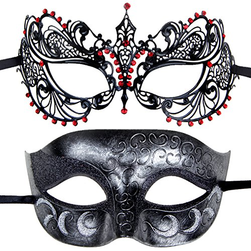 Couples Pair Mardi Gras Venetian Masquerade Masks Set Party Costume Decorations (Mardi Gra Themed Dresses)