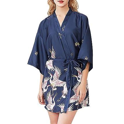 QAQBDBCKL Mujeres Simulación De Seda del Sueño Vestido Túnica Estampado Floral Damas Pijamas Lencería Túnica Albornoz