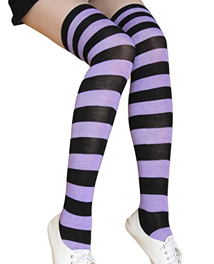 c500b6190 Aivtalk Women s Extra Long Opaque Striped Over Knee Thigh High Stockings  Socks Striped Purple Black