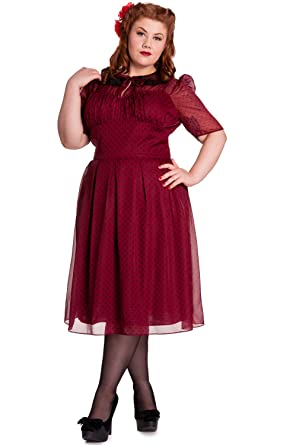 9251d770155 Hell Bunny Plus 40s 50s Vintage Cynthia Polka Dot Chiffon Dress at Amazon  Women s Clothing store