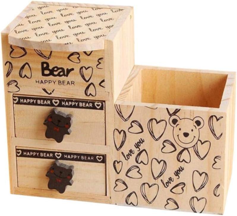 Ikavee - Portalápices de madera con pizarra pequeña, caja de almacenamiento multifunción, portalápices, útiles de oficina para estudiantes: Amazon.es: Oficina y papelería