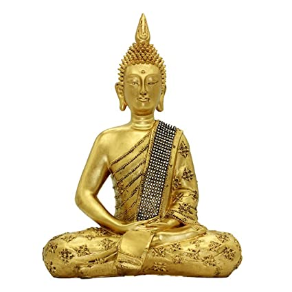 Amazon Com 14 96 H Gold Thai Buddha Statue Resin Crafts Home