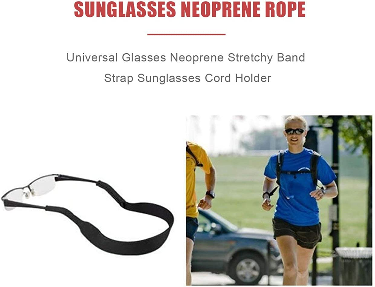 YUIO Vintage Solid Eyeglass Strap Spectacle Glasses Neoprene Stretchy Band Universal Sunglasses Cord String Holder Rope Black