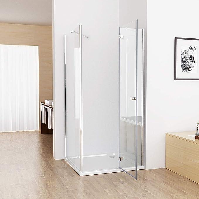 Cabina de ducha cuadrada de 75 x 80 x 195 cm, puerta de ducha, 80 cm, pared lateral de vidrio templado: Amazon.es: Bricolaje y herramientas