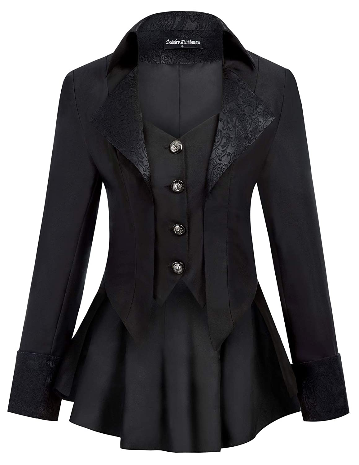 Steampunk Tops | Blouses, Shirts SCARLET DARKNESS Womens Gothic Jacket Vampire Riding Tail Coat Renaissance Costume False 2pcs $41.90 AT vintagedancer.com