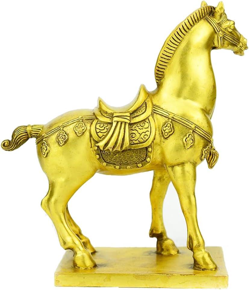 ADISVOT Brass Fengshui Rich Horse Standing Statue, Wealth Horse Stallion, Love Game, Handmade Art Sculpture, Sculpture, Home Decor, 6 Inch