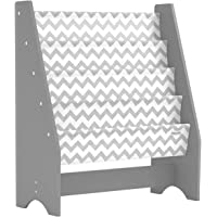 Pidoko Kids Bookshelf, Grey with Chevron | Wooden Children's Sling Bookcase with Pocket Storage Book Rack - Canvas Gray