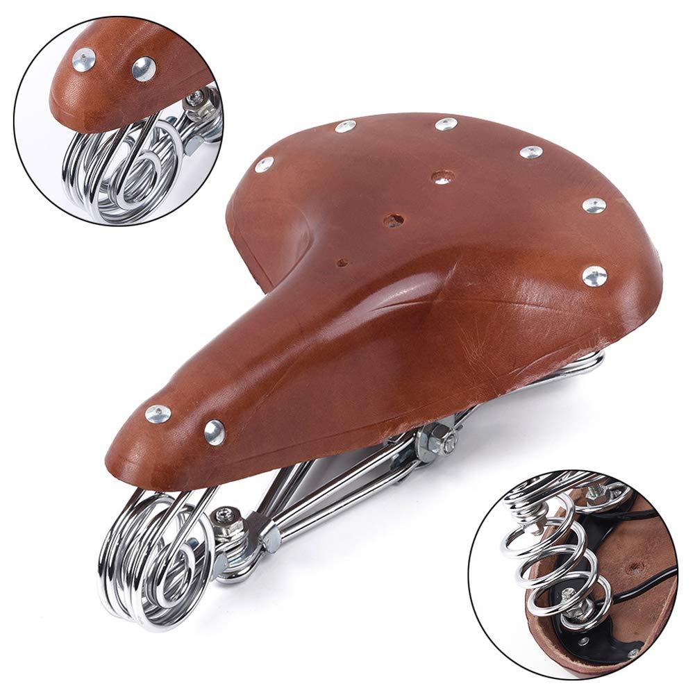 Wukalaka 1 x Klassischer Fahrradsattel aus echtem Leder Retro-Leder echtes Leder Vintage genietet Komfort Brooks Stil Sattel Duarble