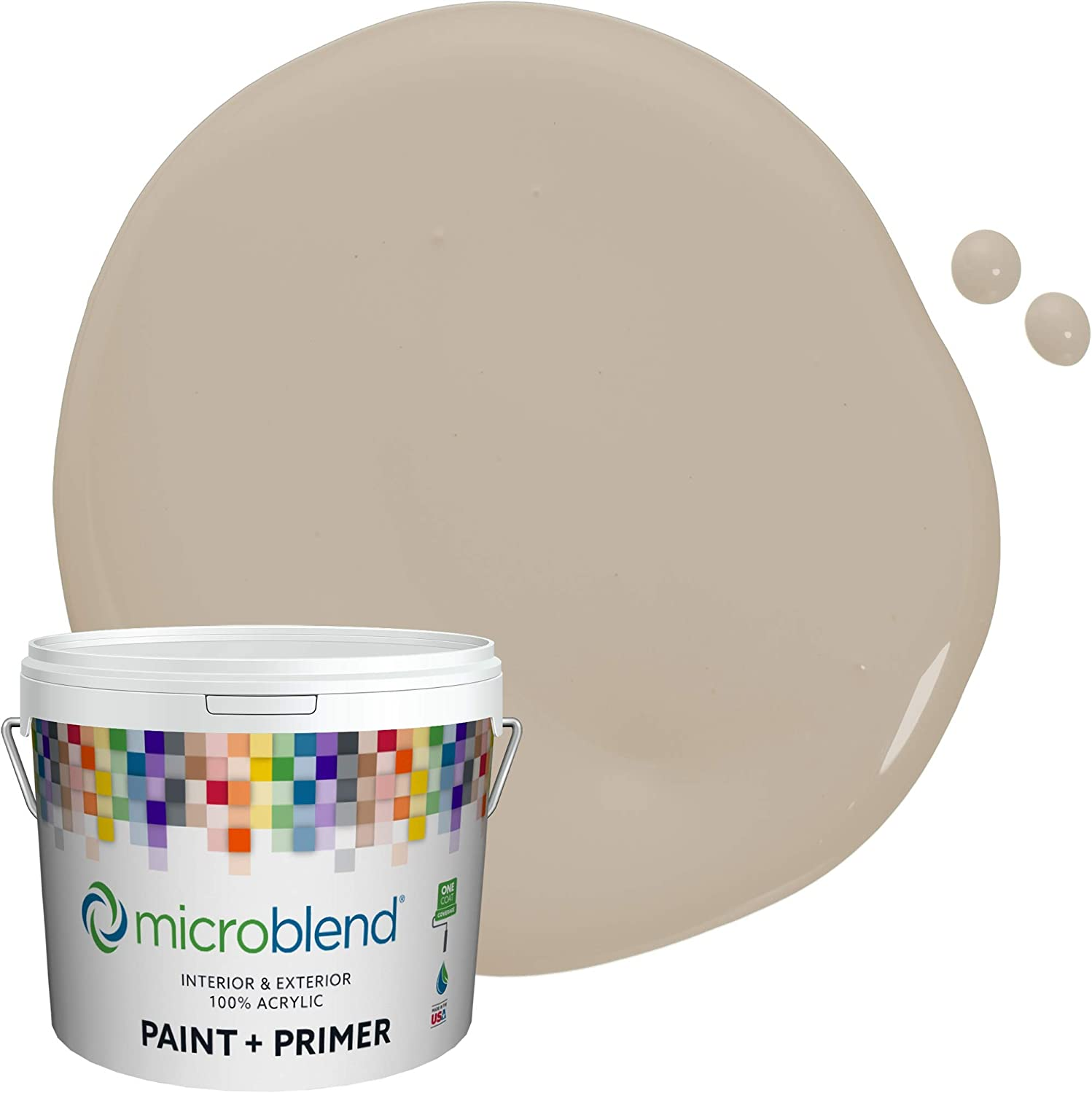 Microblend Interior Paint and Primer - Taupe/Italian Marble, Semi-gloss Sheen, Quart, Premium Quality, One Coat Hide, Low VOC, Washable, Microblend Browns Family