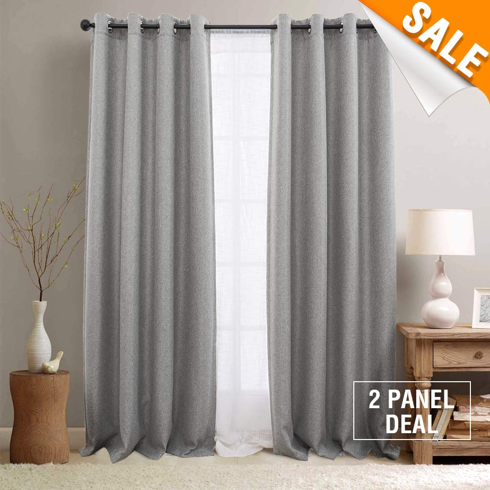 Lazzzy Short Curtains Privacy Room Divider Curtain Thermal Insulated Blackout Curtains Room Darkening Panel for Sliding Door, 66